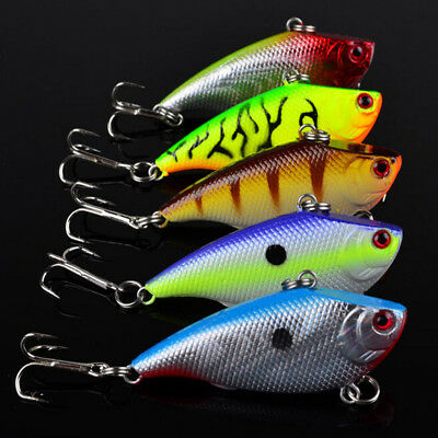 Lot 5Pcs Fishing Lures Kinds Of Minnow Fish Bass Tackle Hooks Baits Crankbait*s!