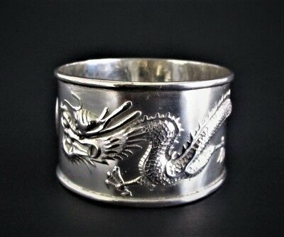 Antique Chinese Sterling Silver Dragon Napkin Ring
