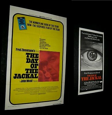 Original DAY OF THE JACKAL Australian Printed South Pacific Daybill + US 1 Sheet
