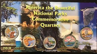 2018 S COLORIZED NATIONAL PARK QUARTER SET w/PROTECTED CARDBOARD DISPLAYER