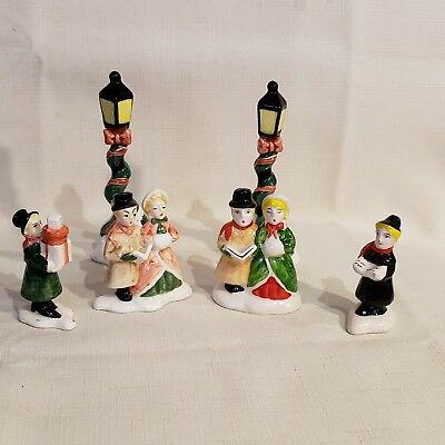 Vintage Fitz and Floyd Christmas Village Accessories Carolers  Lamp