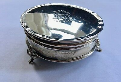 Antique Solid Silver Trinket Jewellery Box, Ornate, HM 1918, For Repair