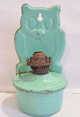 UNUSUAL 1910/1920s TINPLATE LAMP in the SHAPE of an OWL WALL HANGING OWL LAMP