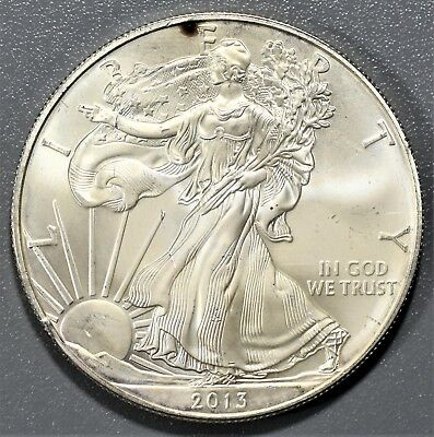 2013 1oz AMERICAN SILVER EAGLE BRILLIANT UNCIRCULATED ASE,  BD22