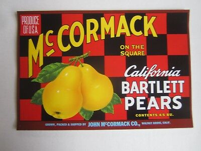 Wholesale Lot of 25 Old Vintage McCormack On the Square PEAR LABELS Walnut Grove