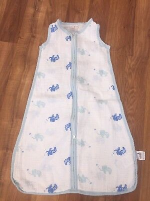 Aden + Anais Muslin Sleep Sack Sleeping Bag Elephants Size Medium 6-12 Months