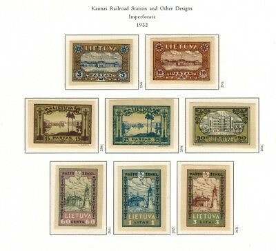 Lithuania #256-263 Complete Imperf Set 1932 MNH