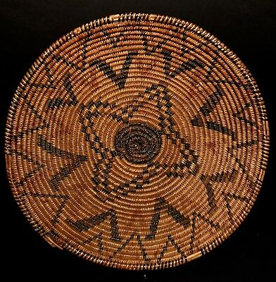 VERY FINE 100+ YEAR OLD POLYCHROME WESTERN APACHE BASKET,Yucca & Devil's Claw,NR
