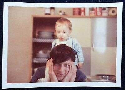 Vtg 1970s Family Life Color PHOTO Snapshot Young Tired Dad Baby Boy on Shoulders