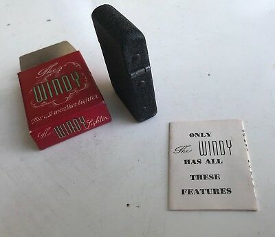 Vintage The Windy All weather Lighter NOS Black Wrinkle Finish Immaculate NR