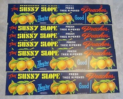 Wholesale Lot of 10 Old Vintage - Sunny Slope PEACHES - Store ADVERTISING SIGNS