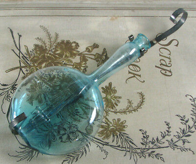 handblown ca 1930's BANJO Figural bottle w/ metal hanger BLUE AQUA glass