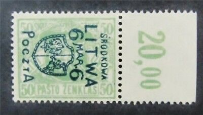 nystamps Russia Central Lithuania Stamp # 17 Mint OG H $48 Signed