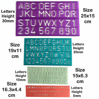 Alphabet Stencils Letters Numbers Pack New Characters Upper Lower Case 4 Sizes