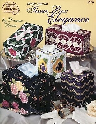 Tissue Box Elegance ~ 10 Styles Tissue Box Covers plastic canvas pattern booklet