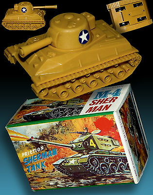 SHERMAN M-4 PANZER IN ORIGINAL BOX OVP HONG KONG 70er WW2 SHERMAN TANK BOXED 70s