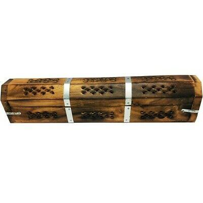 2 x Wooden Antique Box Incense Stick Cone Holder Conffin Burner 30cm/12''
