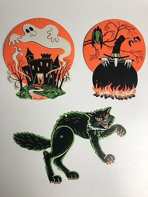 Vintage Halloween Decoration Movable Carboard Diecut Black Cat , Witch & Ghost