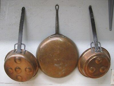 (3) Vintage Hammered Copper Skillet Fry Pans W/ Cast Iron Handles French Style