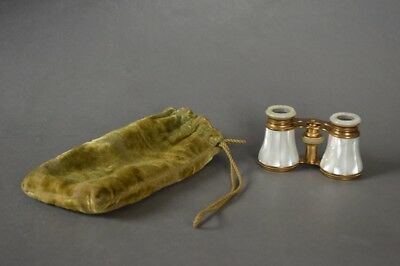 19th c. Le Fils Paris French Mother-Of-Pearl & Gilt Opera Glasses