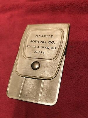 Vintage Plastic Advertising Tool Pouch, Nesbitt, Grain Belt, and Schiltz Beers.