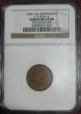 Pulmonales, Boston, MA MS-64 RB Civil War Token