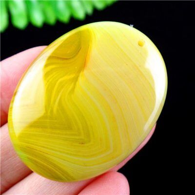 Yellow Stripes Onyx Agate Oval Pendant Bead 45*35*7mm H91P13245