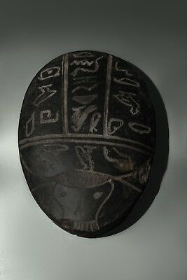EGYPT EGYPTIAN SCARAB STATUE Antiques Beetle Khepri Carved BLACK STONE Vk8 BC