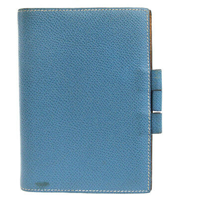 Authentic HERMES Logos Agenda Day Planner Notebook Cover Leather Blue 08EM663