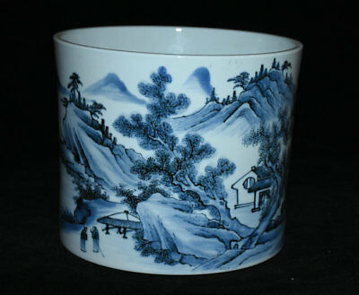 "8"" Mark Blue White Porcelain Flower Scenery Brush Pot Pencil Vase Dynasty China"