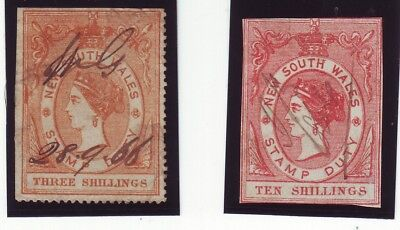 1860s  CLONY NEW SOUTH WALES   QUEEN VICTORIA DUTY   SHILLINGS VALUES USED 2