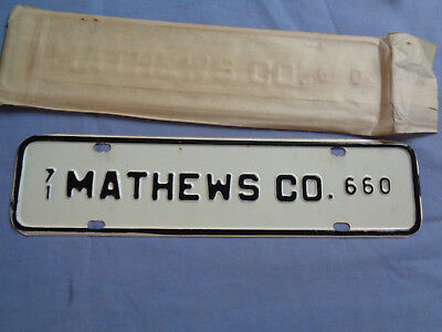 1971 Mathews Co. Virginia # 660 License Plate Topper - Town / City / County