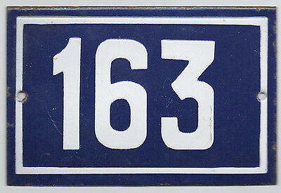 Old blue French house number 163 door gate plate plaque enamel steel metal sign