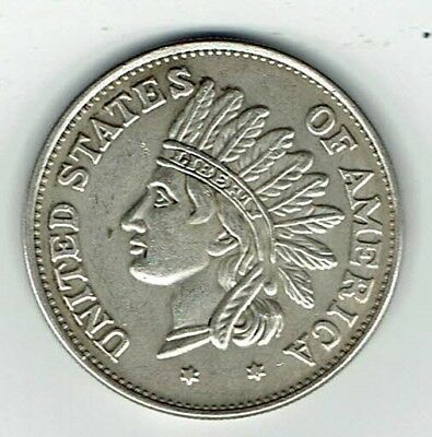 "1851 - USA 'Indian Head"" Silver Plate Dollar"