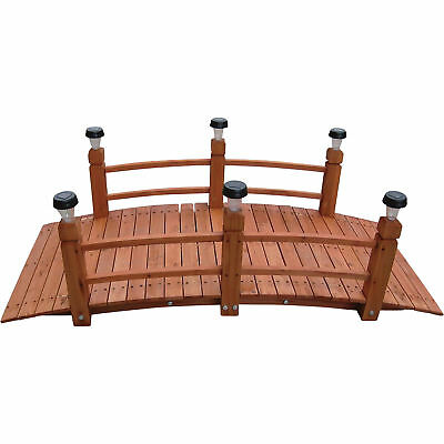 Decorative Wood Home Garden Pond Yard Arch Bridge Walkway W/ Solar Lights - 5ft.