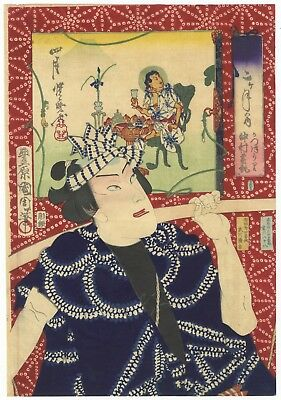 Toyohara Kunichika, Actor, Pattern, Ukiyo-e, Original Japanese Woodblock Print