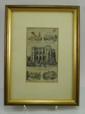 Antique late 19th century Stevengraph The Keep Kenilworth Castle framed
