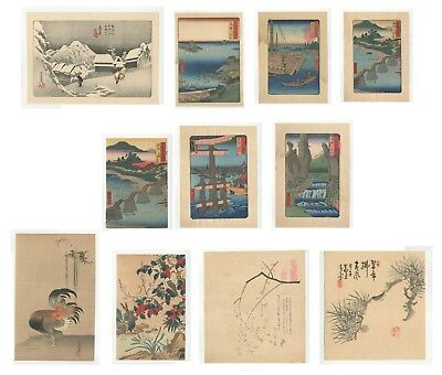 Reproduction Japanese Woodblock Prints, Ukiyo-e, Set of 11, Landscape, Flowers