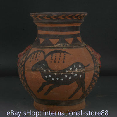 """8.8"""" Old Chinese Han Painting Pottery Dynasty Animal sika deer Bottle Vase"""