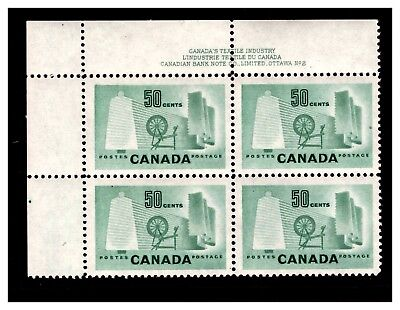 Canada Corner Block 50 cts With Printers Note In Margin. MNH. #10
