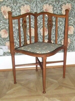 Art Nouveau Corner Chair with William Morris Upholstery
