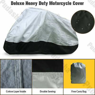 All Weather Deluxe Heavy Duty Waterproof Motorcycle Cover Cotton Lined DM1HS