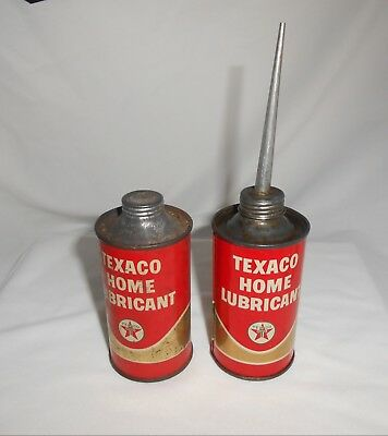 Texaco Home Lubricant Tin Can Set Of 2 Vintage One Unopened One Empty 3 Ounce