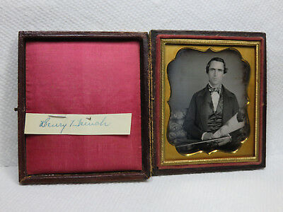 1850S Daguerreotype Photograph Musician With Violin & Sheet Music & Name Id