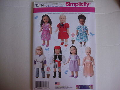 """New Simplicity Sewing Pattern 1344 for 18""""  Girl Dolls 7 outfits"""