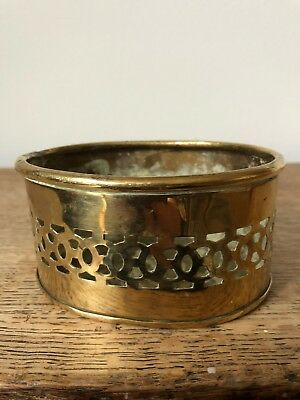 Antique Small Brass Planter With Open Work