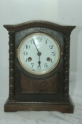 Antique Pre 1900 Oak Case Mantle Clock,restore.enamel Dial,bevel Glass.