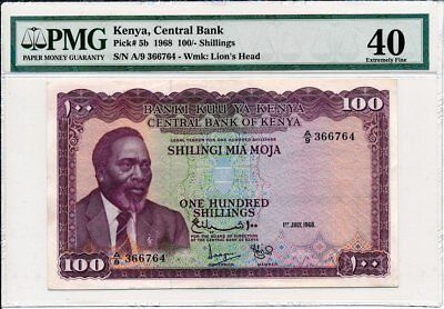 Central Bank Kenya  100 Shillings 1968 First Day issued PMG  40