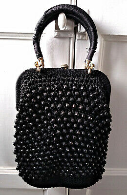 ANTIQUE VINTAGE 1920s FRENCH ART DECO BEADED  FLAPPER EVENING BAG HAND MADE