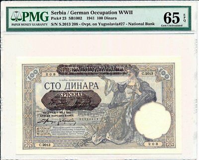 Germany Occupation WWII Serbia  100 Dinara 1941  PMG  65EPQ